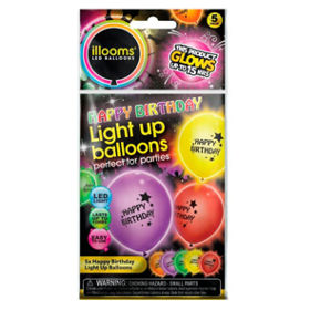 Illooms Happy Birthday Assorted Colour Light Up Balloons