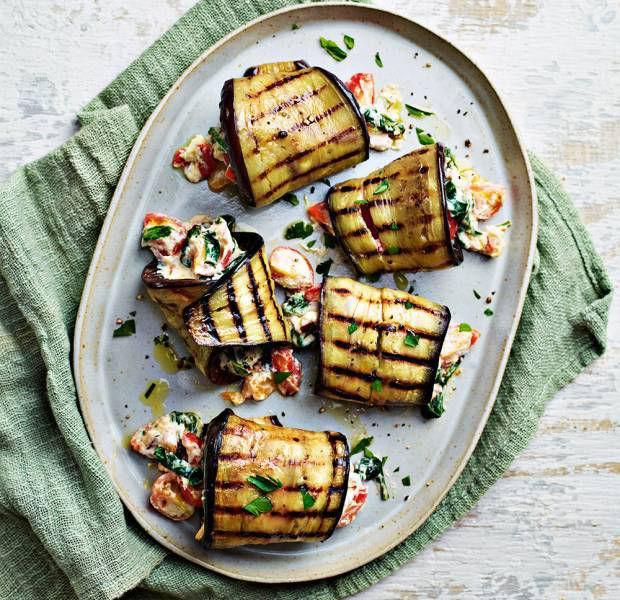 Aubergine rolls with ricotta and Mediterranean veg stuffing