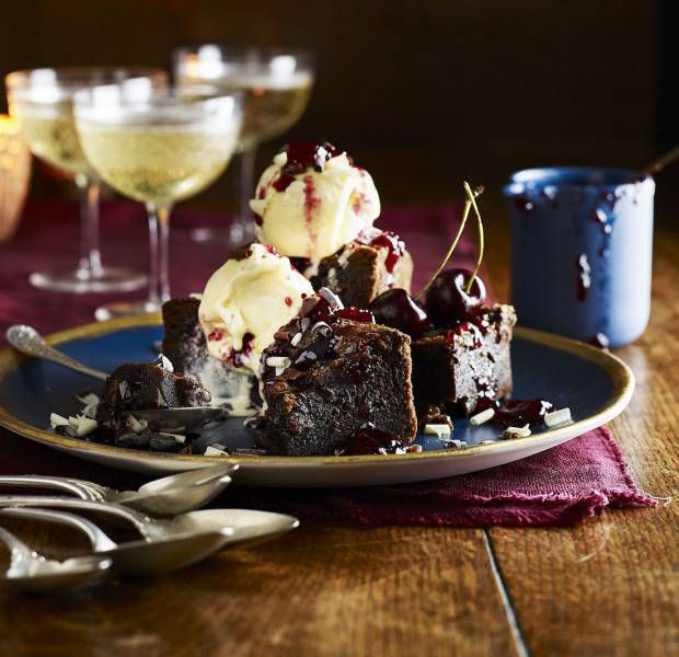 Belgian chocolate and salted caramel brownies with cherry conserve