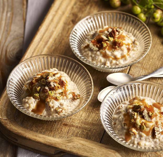 Sticky toffee rice pudding with candied nuts