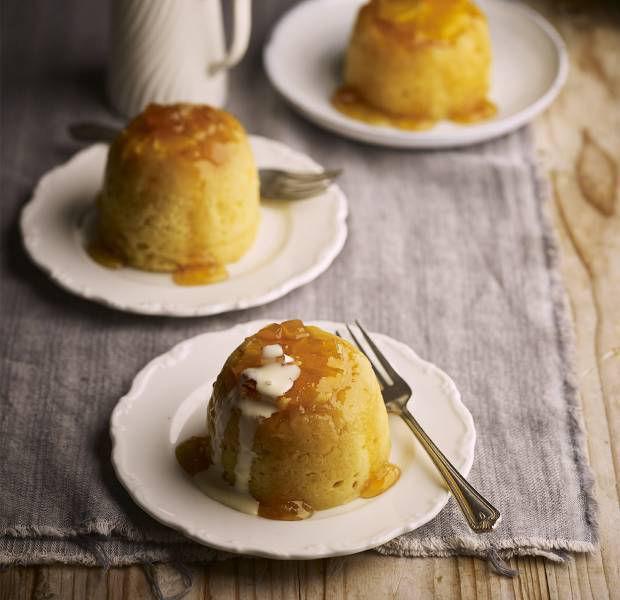 Orange and ginger syrup sponge puddings