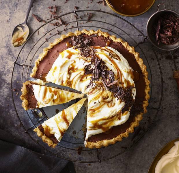 Chocolate, caramel and tahini tart