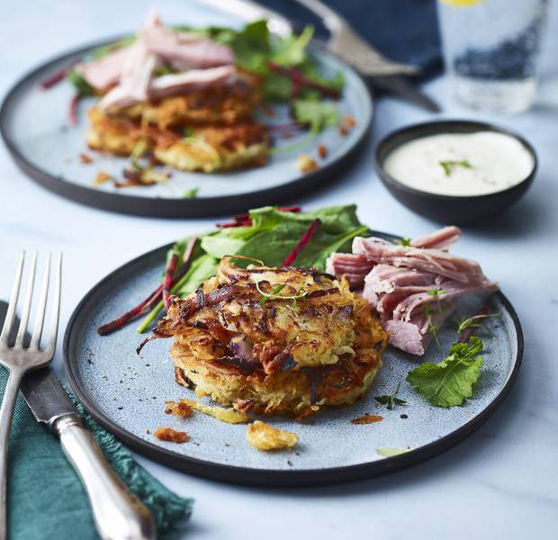 Slow-cooker gammon with parsnip and potato rösti
