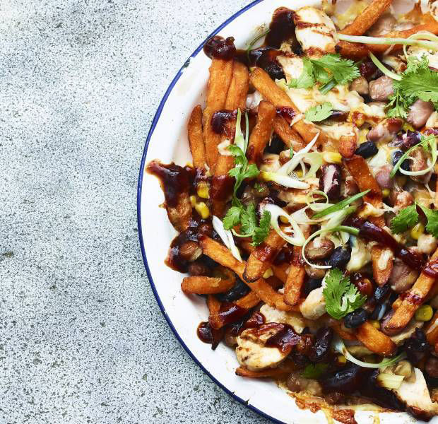 Barbecue chicken and bean sweet potato oven 'fries'