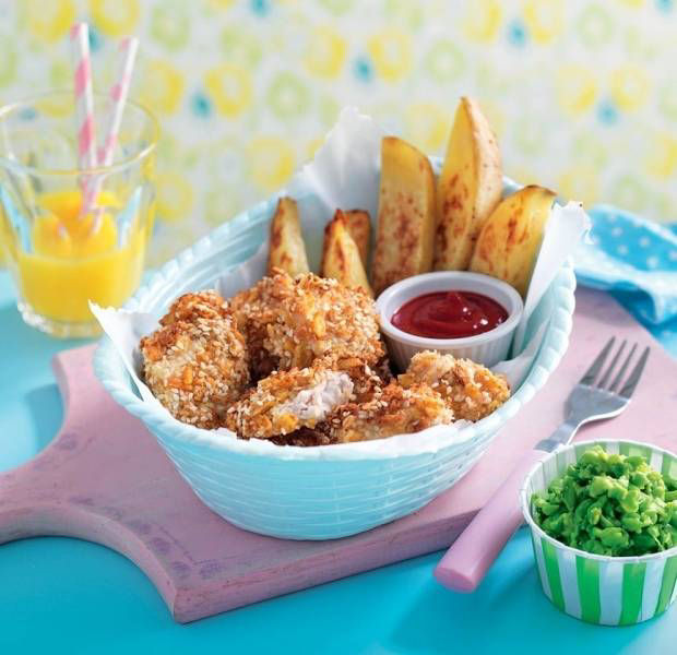 Chicken nuggets, chunky chips & mushy peas