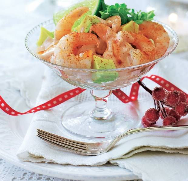 Spicy prawn and avocado cocktail