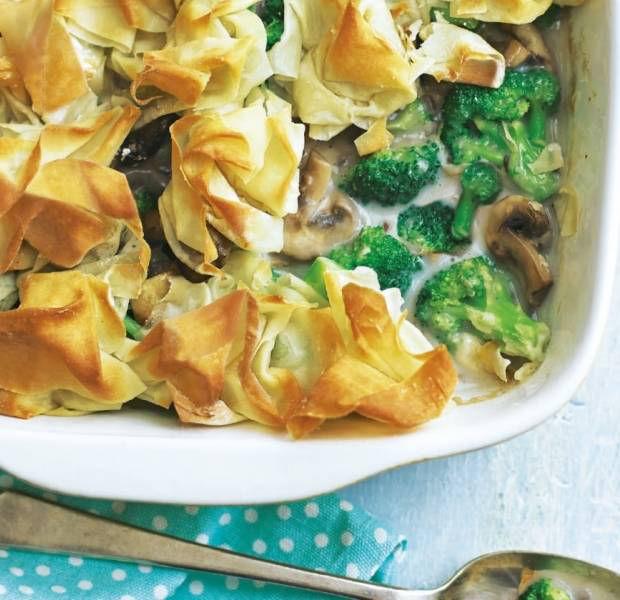 Mushroom & broccoli filo pie