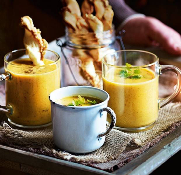 Thai-style butternut squash soup & cheese twists