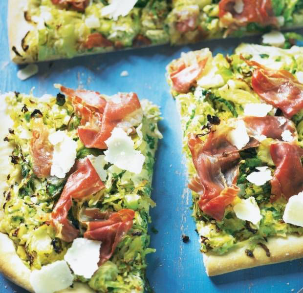 Brussels sprout, cabbage and Parma ham pizza