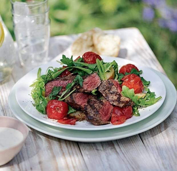 Summer beef salad with horseradish dressing