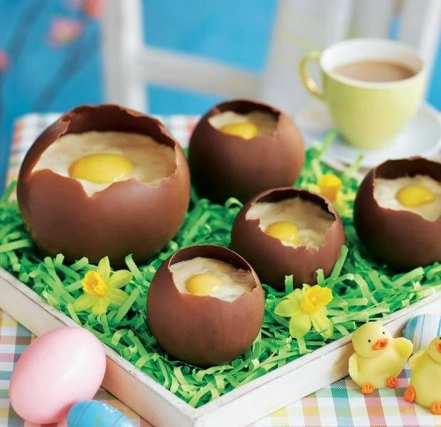 Chocolate eggshells with orange jelly mousse