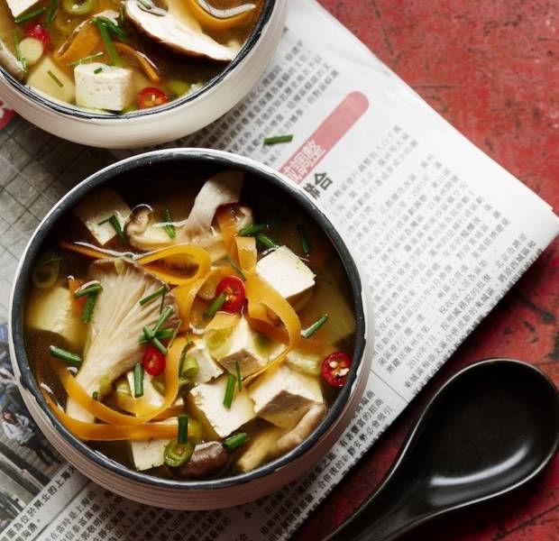 Hot & sour soup with carrot 'noodles'