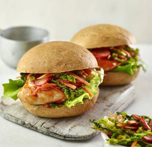 Korean chicken burgers with kimchi