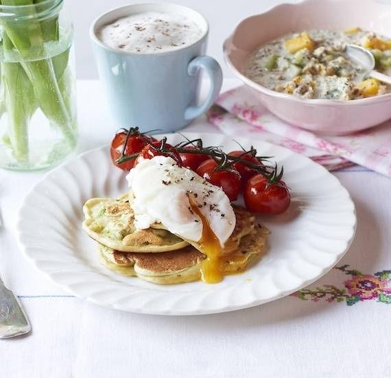 Eggs on avocado pancakes
