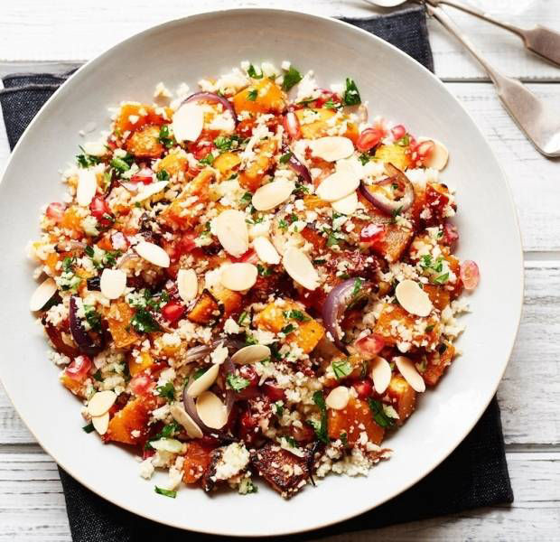 Pomegranate, butternut and cauliflower cous cous