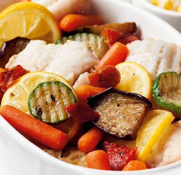 Mediterranean veg & fish bake with pea & sweetcorn rice