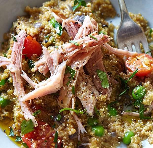 Pea quinoa risotto with ham