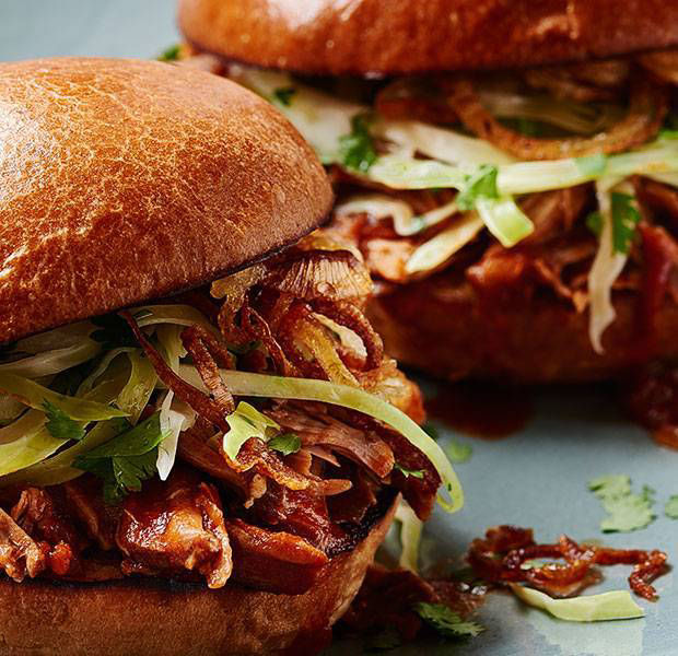 Slow-cooked lamb burger with cabbage slaw