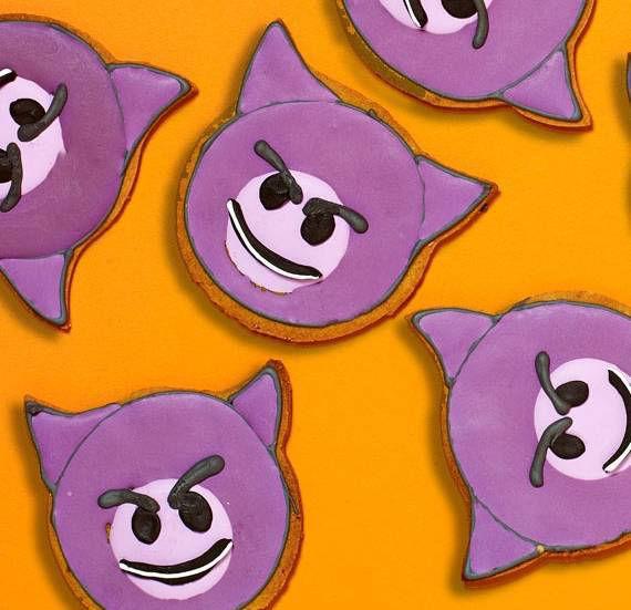 Devil emoji gingerbread biscuits