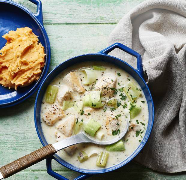 Speedy chicken and leek casserole