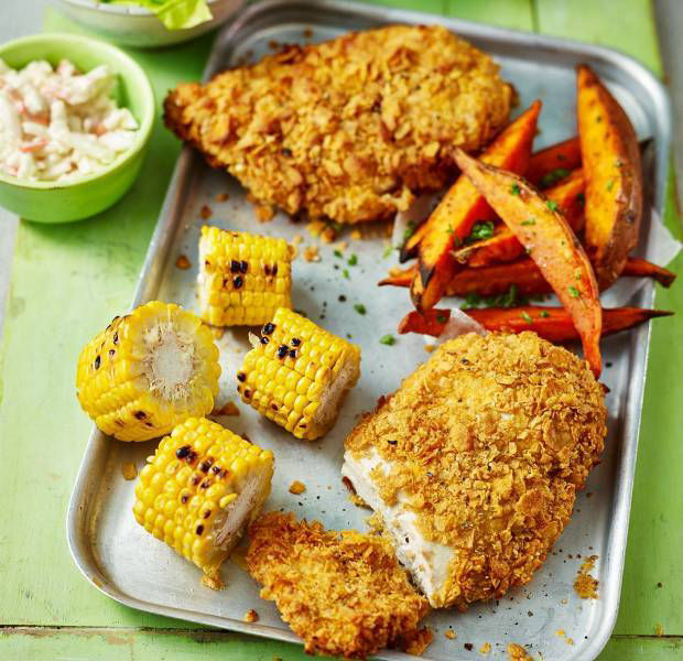 Crunchy cornflake chicken with baked sweet potato fries
