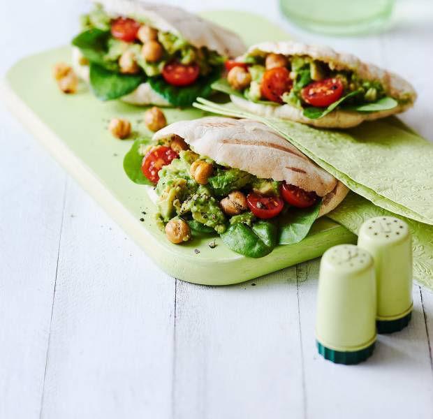 Avocado-chickpea mashup in pitta