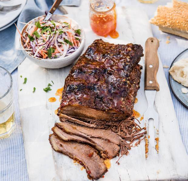 Mustard rubbed brisket with a sweet chilli glaze