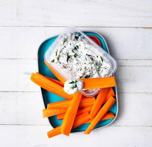 Tzatziki dip with carrots