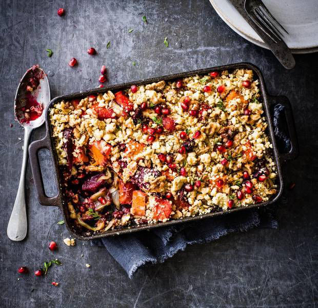 Beetroot and butternut bake with walnut crumble