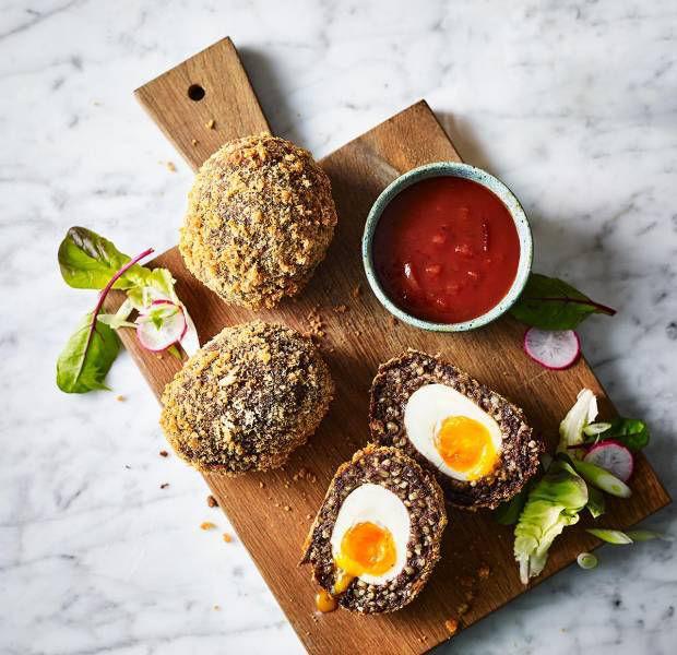 Haggis Scotch eggs with Irn-Bru dip