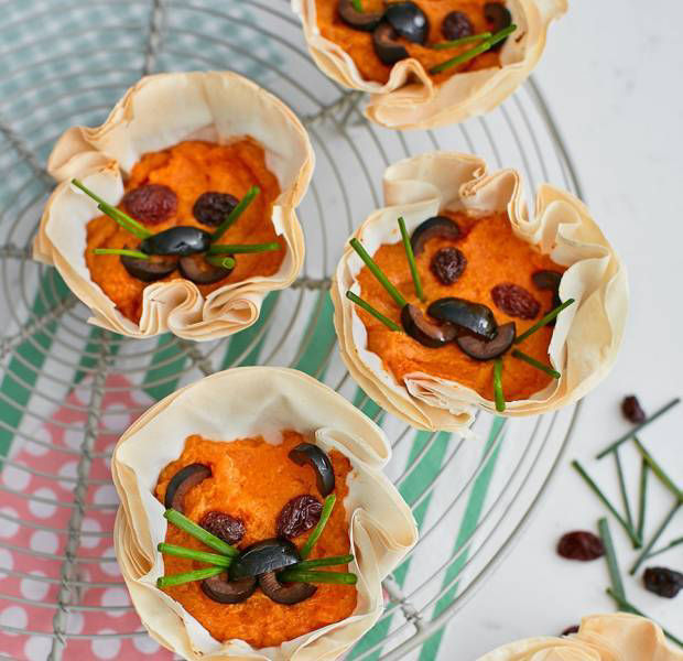 Briony Williams' Lion filo crinkles with butternut squash & pine nuts