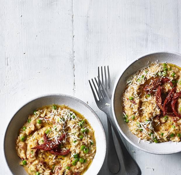 Pea and sundried tomato risotto
