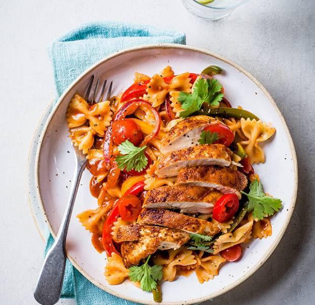 Fajita-spiced chicken and tomato farfalle