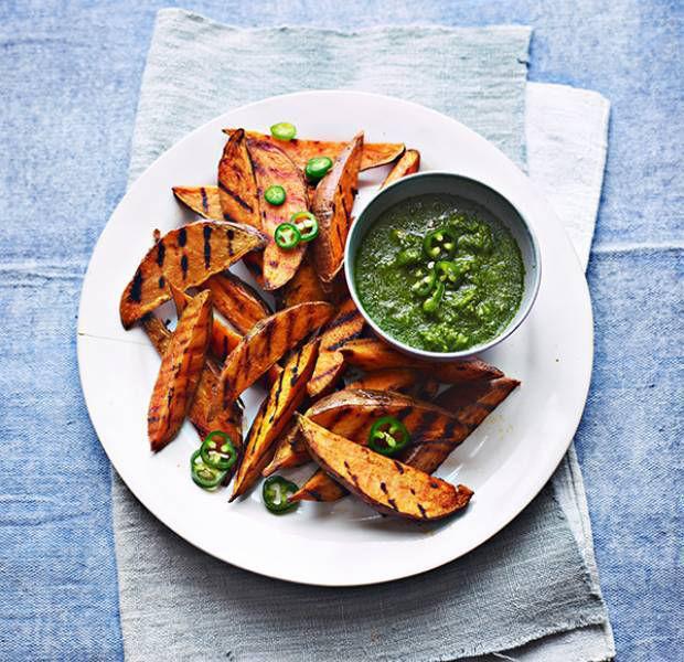 Vegan griddled sweet potato wedges with coriander chutney