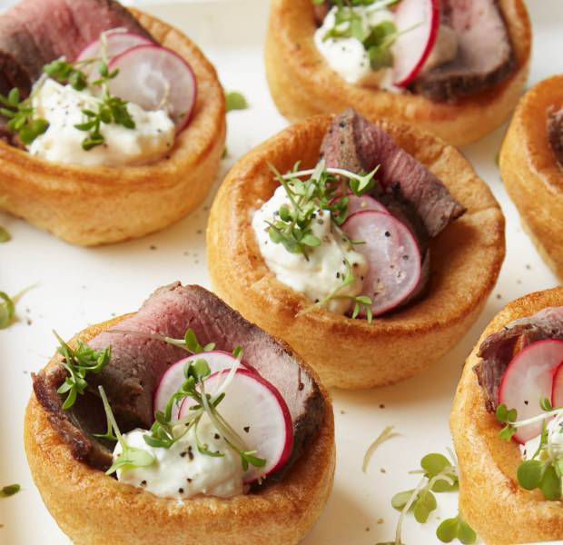 Yorkshire puddings with roast beef and a horseradish dressing