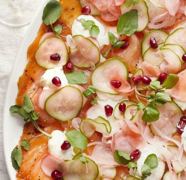 Smoked salmon carpaccio-style salad with a pomegranate and Prosecco dressing