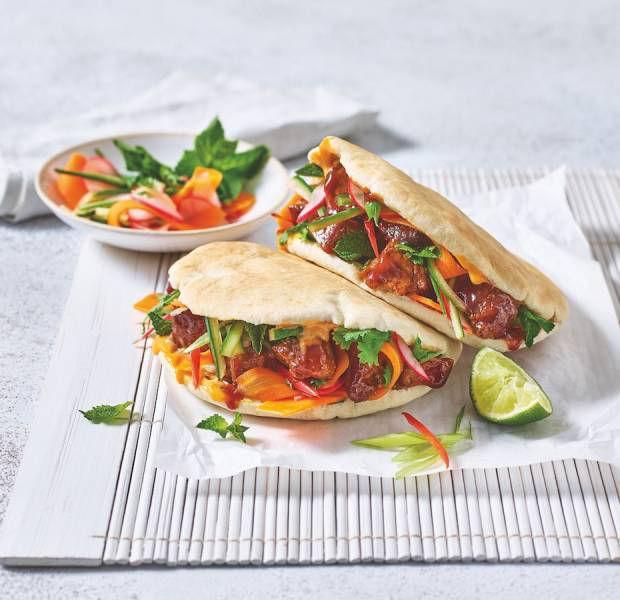 Vietnamese-inspired bánh mì pittas