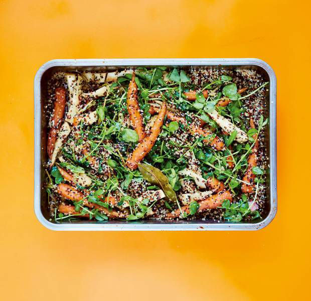 Honey-roasted carrots and parsnips with quinoa and rocket