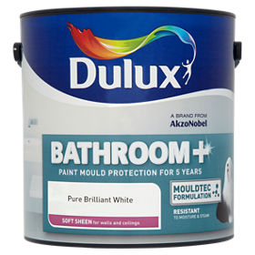 Dulux Bathroom Plus Pure Brilliant White Soft Sheen Paint ASDA - Paint plus