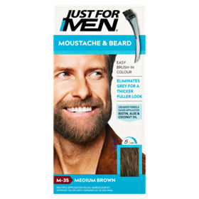 Just for Men Moustache & Beard Brush-In Colour Gel Medium Brown M-35 ...