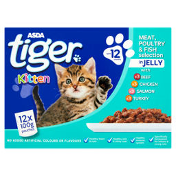 Asda Tiger Mixed Selection In Jelly Kitten Food Pouches Asda