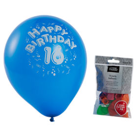 George Home Happy 16th Birthday Assorted Colour Balloons