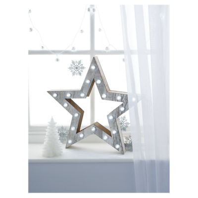 George Home White Wooden Led Star Light Asda Groceries