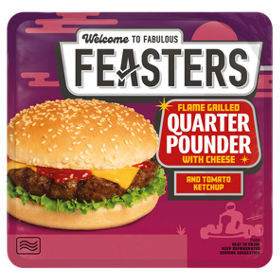 Feasters Premium Microwave Flame Grilled Quarter Pounder With Cheese