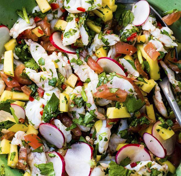 Prawn and mango ceviche salad