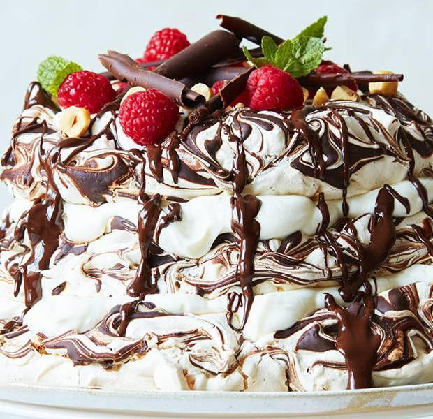 Hazelnut and chocolate meringue cake