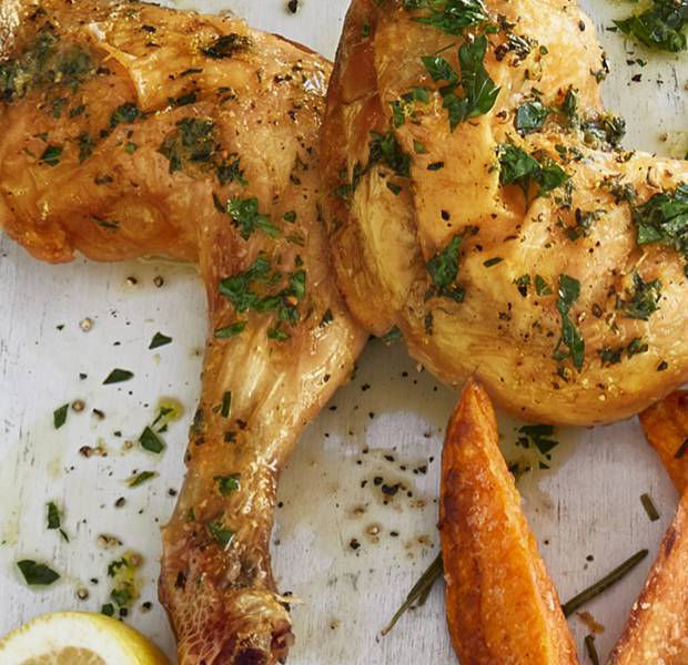 Herby chicken with sweet potato 'fries'
