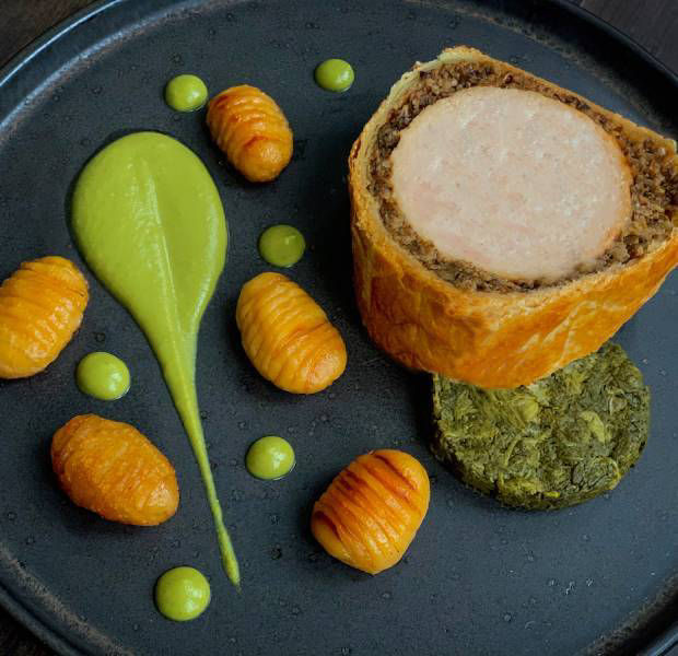 Dean Edward's chicken and mushroom Wellington with hasselback potatoes
