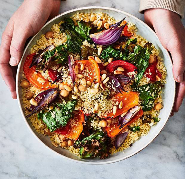 Cous cous, roasted peppers and kale