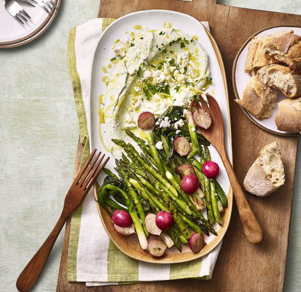 Charred asparagus, spring onions and radishes with a savoury yogurt